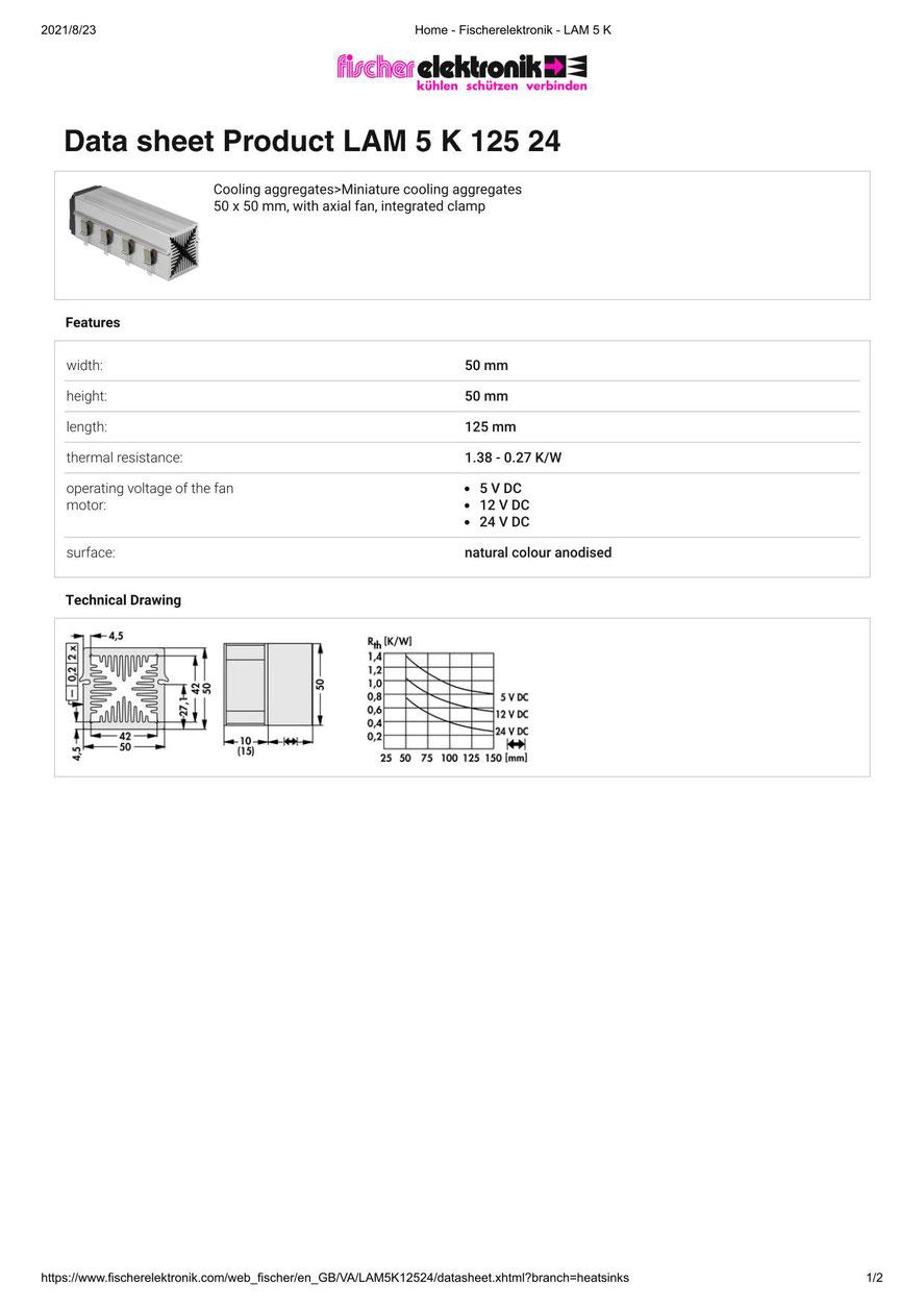 LAM 5 K 125 24 Fischer /フィッシャー 軸流ファン付 ヒートシンク