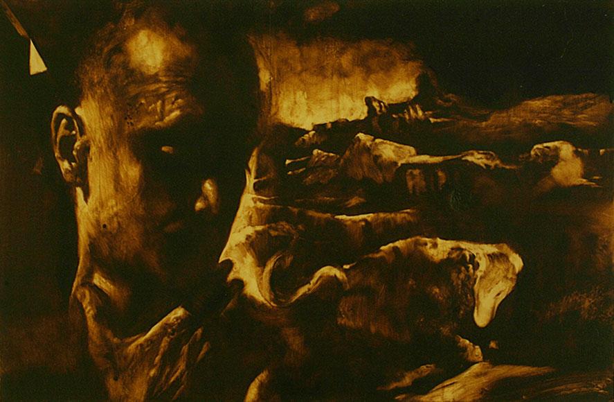 """""""Risonanza mistica"""" (2009) olio su legno, cm (32,7 x 49,7)"""