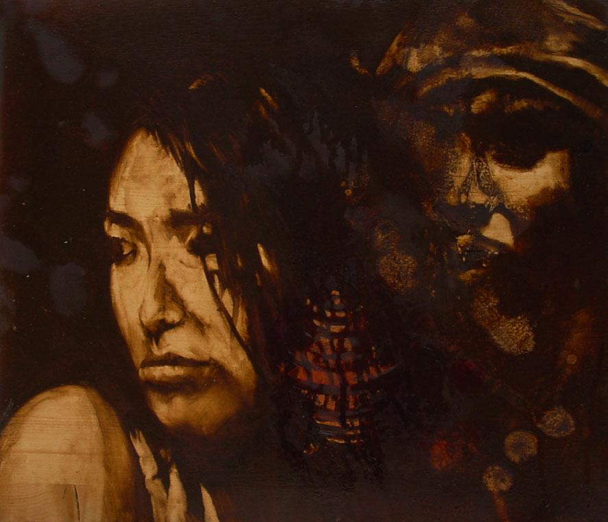 """""""Tossici"""" (2009) olio e foglia d'oro su legno, cm (30 x 35)"""