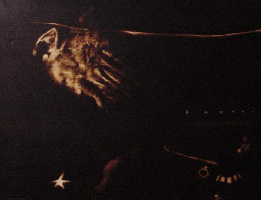 """""""Silent distance (il terrorista K-S1)""""  (2009) olio su legno, cm (30 x 40)"""