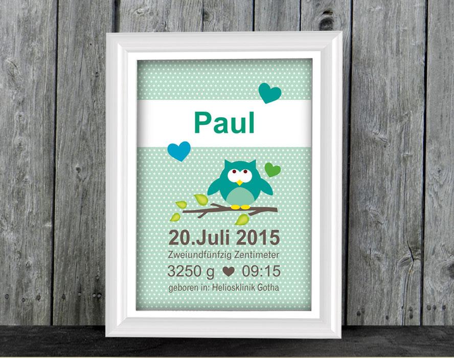 Geburtsprint - mit niedlicher Eule auf grünen Hintergrund mit Sternchen - personalisierbar mit Name und Geburtsdaten, tolle Geschenkidee