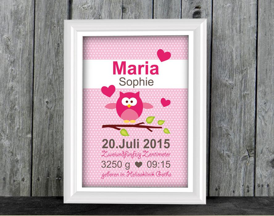 Geburtsprint - mit niedlicher Eule auf rosa Hintergrund mit Sternchen - personalisierbar mit Name und Geburtsdaten, tolle Geschenkidee