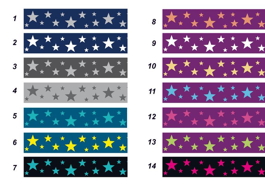 selbstklebende Vlies Bordüre mit Sternen in verschiedenen Farbvarianten