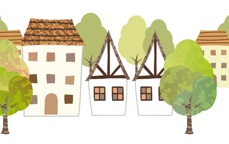 selbstklebende Vliesbordüre mit idyllischen Fachwerkhäusern und Bäumen, umweltfreundlich
