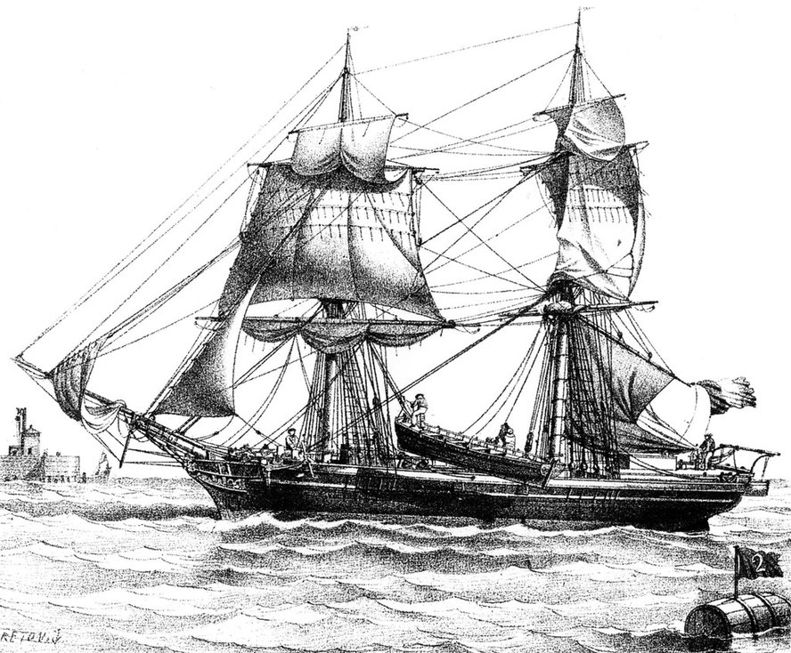 Brig de commerce en panne, embarquant son canot.