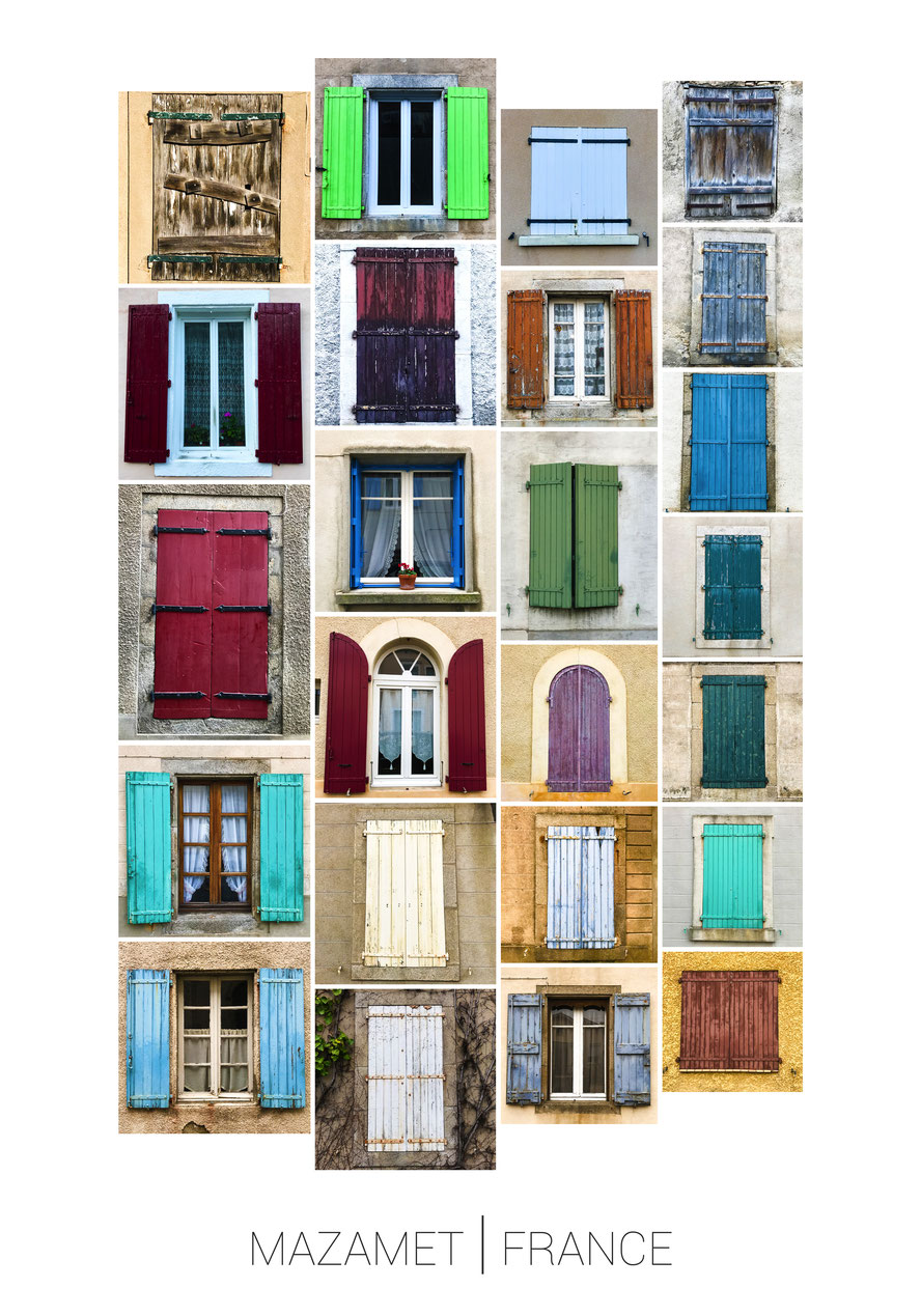 colorful windows in mazamet, france
