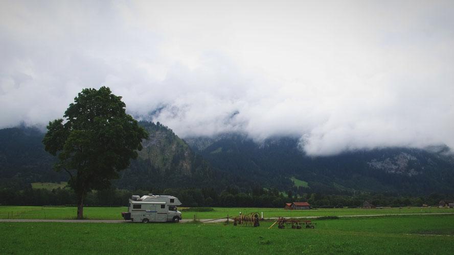 bigousteppes bavière camion mercedes montagne  nuages