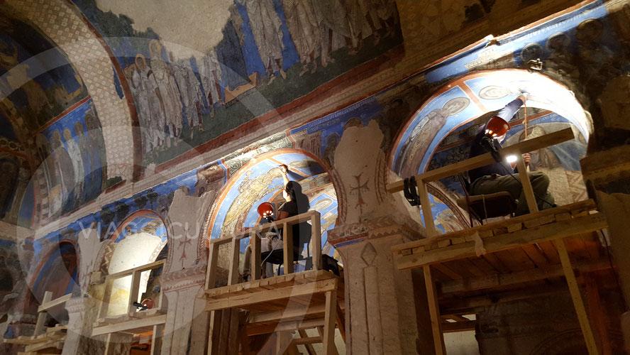 Lavori di restauro all'Açık Hava Müzesi, Göreme