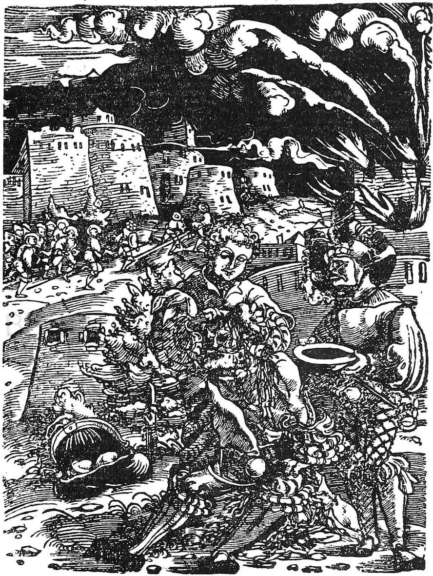Feldarzt verbindet während des Sturmes einen Verwundeten. Holzschnitt aus Gerßdorff, Wundarzney. Straßburg, Schott 1535.