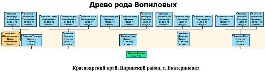 Древо рода Вопилова Кузьмы Аксёновича