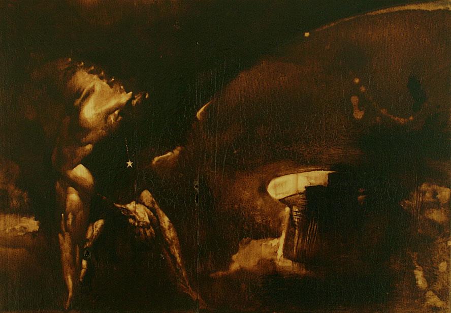 """""""L'ora delle sette vertebre"""" (2009) olio su legno, cm (49,7 X 35)"""