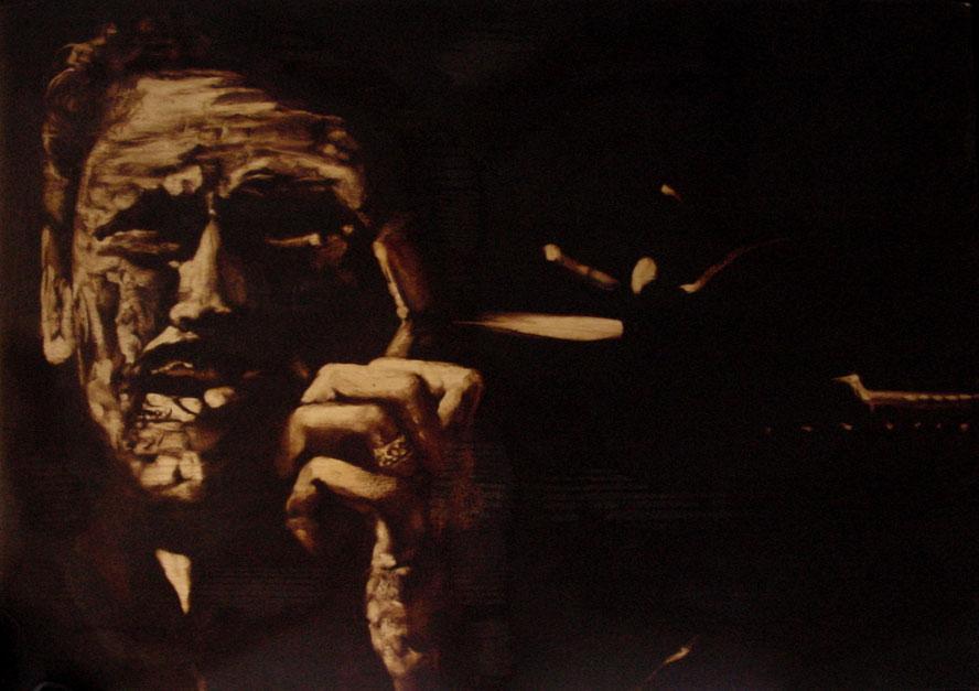 """Terrorista"" (2009) olio su legno, cm (39,5 x 55,5)"
