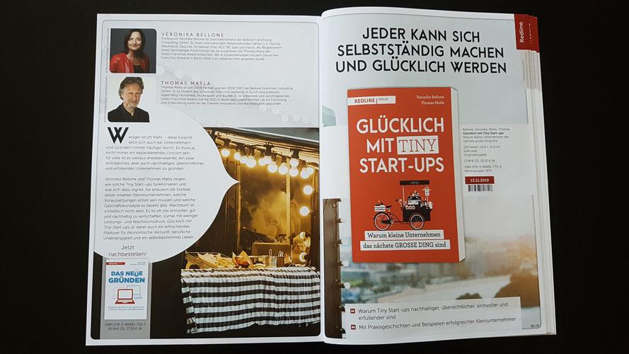 GLÜCKLICH MIT TINY START-UPS, Bellone/Matla, Redline Verlag erscheint am 13.11.2019 © Bellone Franchise Consulting GmbH