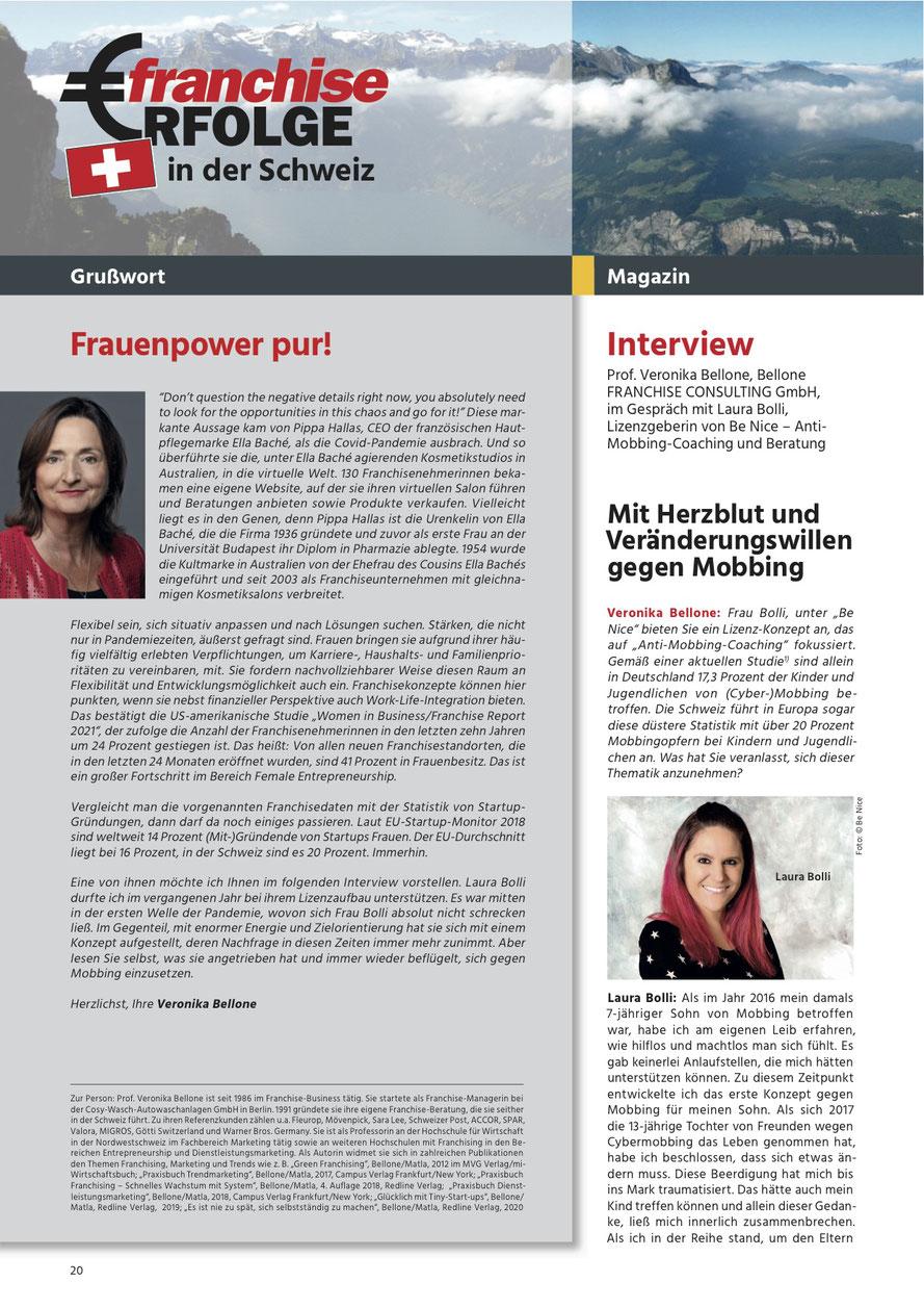 FranchiseErfolge Nr. 02/2021, Seite 20, Interview Prof. Veronika Bellone mit Laura Bolli, Lizenzgeberin von Be Nice Anti-Mobbing Coaching