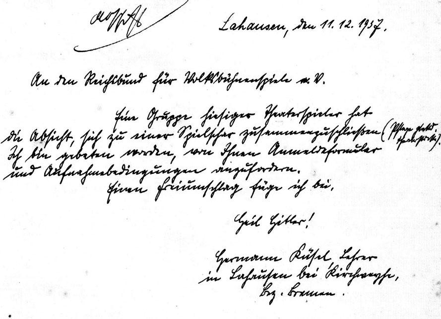 """Hermann Küsel richtet bereits 1937 ein Schreiben an """"Reichsbund für Volksbühnenspiele"""""""