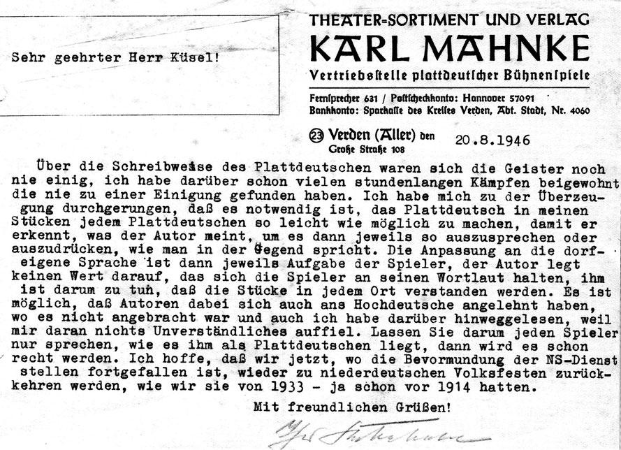 """Schreiben des Theaterverlegers Karl Mahnke an Spielleiter Hermann Küsel in Sachen """"Aussprache der plattdeutschen Bühnentexte"""""""