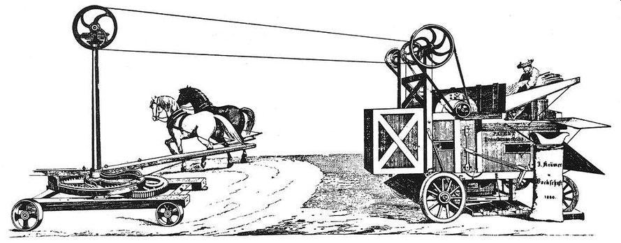Fahrbare Dreschmaschine mit Antrieb über Pferdegöpel.33