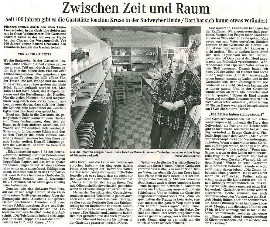 Artikel des Weserkuriers in 2012 (Annika Richter)