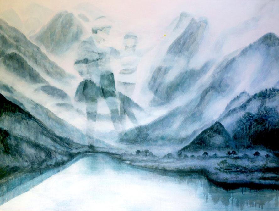 "Through Time & Space, Oil on Canvas 36"" x 48"" /千山萬水, 布面油畫,92cm x 122cm, 2015"