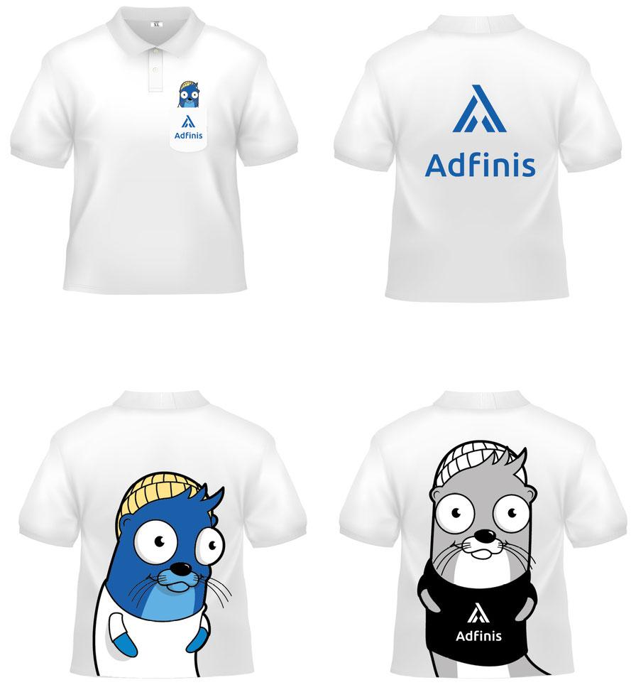Marken Entwicklung Adfinis AG, Switzerland: Textil Geschäftskleidung mit Otter Maskottchen von Adfinis AG. Vektor, Illustrator Zeichnung by Lockedesign, Bern