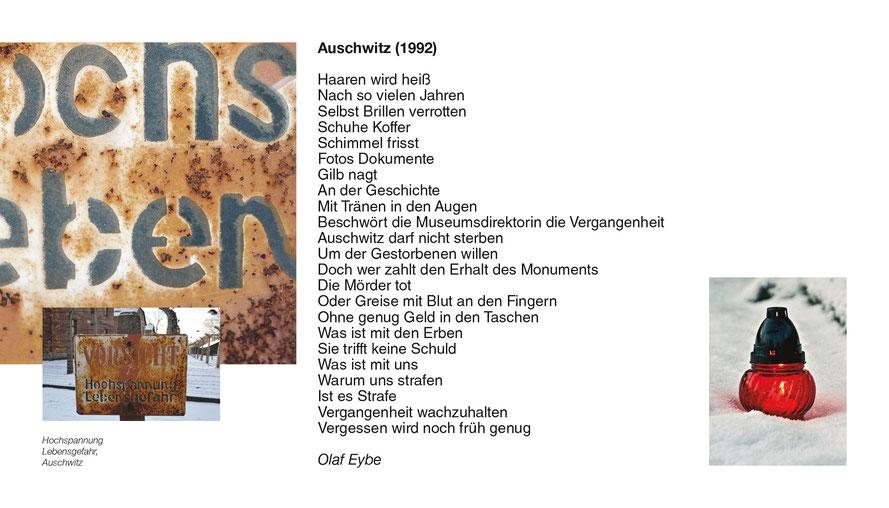 """In seinem Text """"Auschwitz (1992)"""" beschreibt Olaf Eybe das Dilemma der Erinnerungskultur und plädiert für ein zeitgemäßes Erinnern – gerade am Holocaust-Gedenktag."""