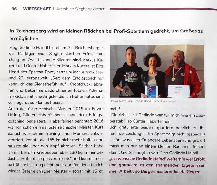 Mag. Gerlinde Haindl - ERFOLGSCOACH gratuliert Günter Haberfellner - österreichischer Meister im Power Lifting und Markus Kucera - Elite Head Spartan Race 2019