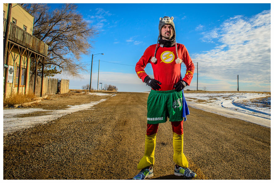 Jamie McDonald's new coup: A run across the United States of America to raise many for children (picture courtesy of Superhero Foundation)
