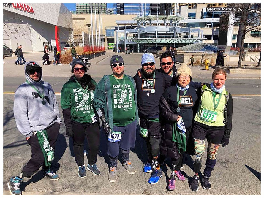 Members of Amputee Coalition of Toronto participating at the Annual Achilles St. Patrick's Day 5K Run/Walk (picture courtesy of Todd Domingo)