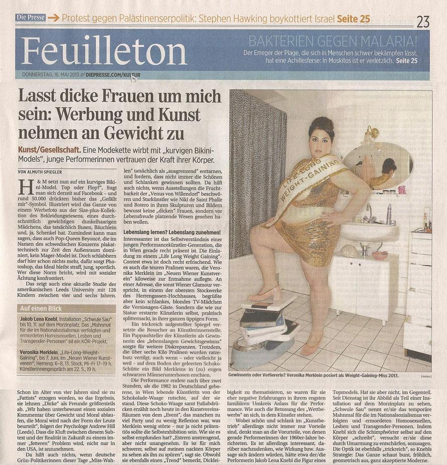 """""""Werbung und Kunst nehmen an Gewicht zu"""", Almuth Spiegler, Die Presse, 16.05.2013"""
