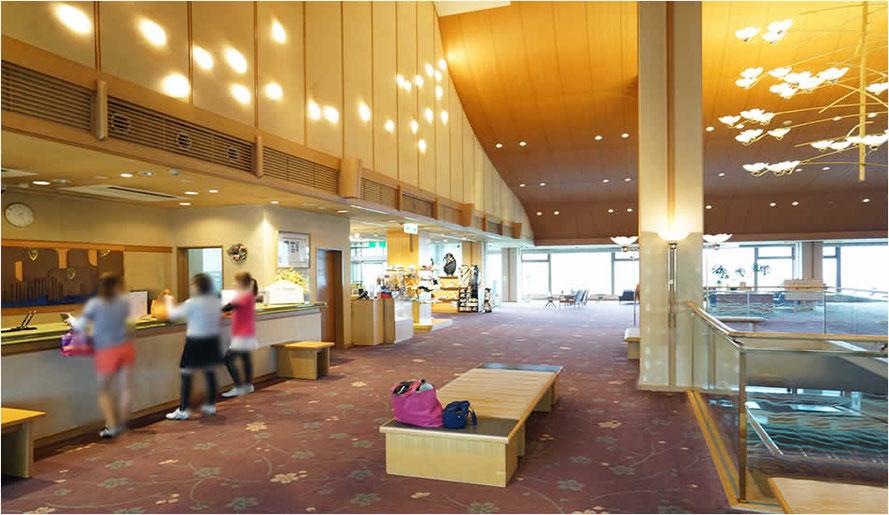 花吉野カンツリ倶楽部様 ゴルフ場の広々ロビーエリアをセントウェーブ1台で香りで対応しています