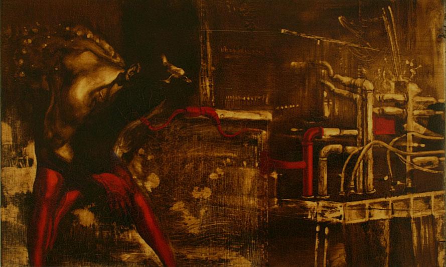 """""""Il pasto nudo"""" (2009) olio su legno, cm (30 x 49,8)"""