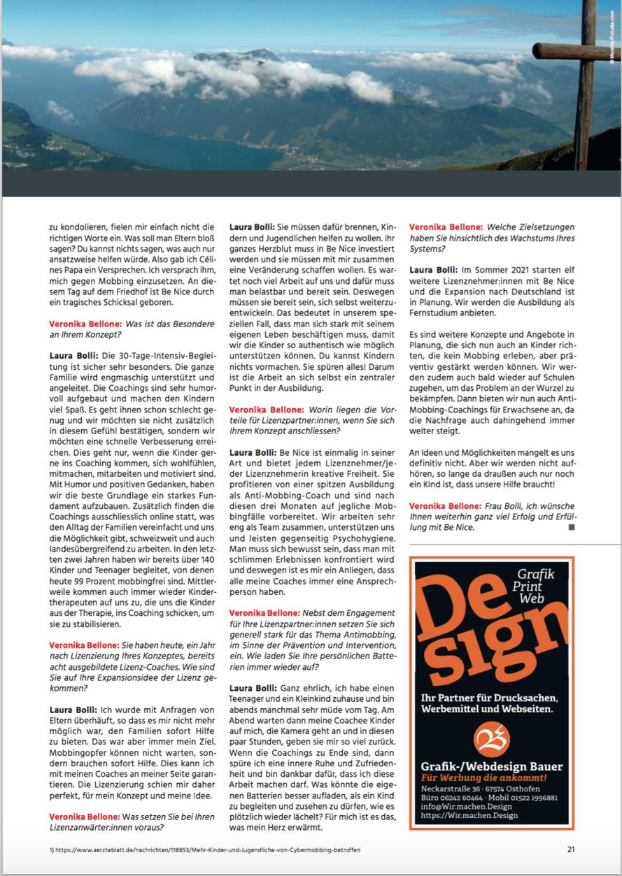 FranchiseErfolge Nr. 02/2021, Seite 21, Interview Prof. Veronika Bellone mit Laura Bolli, Lizenzgeberin von Be Nice Anti-Mobbing Coaching
