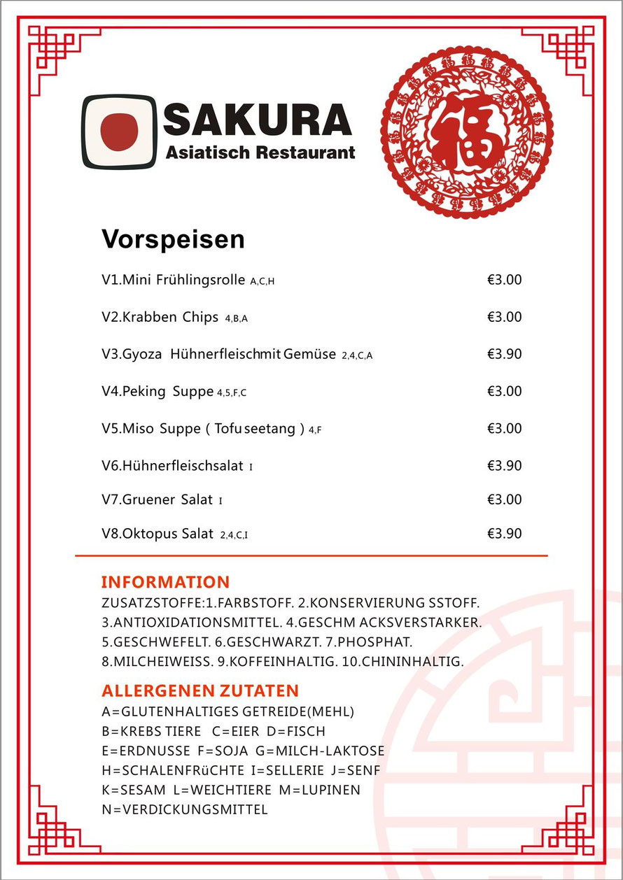 Chinarestaurant mit Take Away Menüs