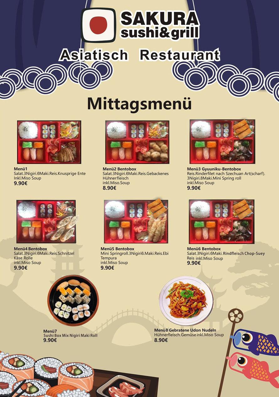 Bento-Box in vielen Variationen. Ein abwechslungsreiches, preiswertes Menü oder lange Wartezeiten.
