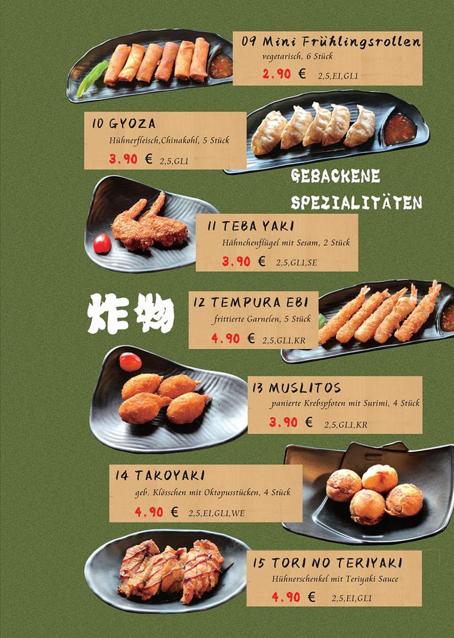 Speisekarte Sakura Lörrach: japanisches Essen