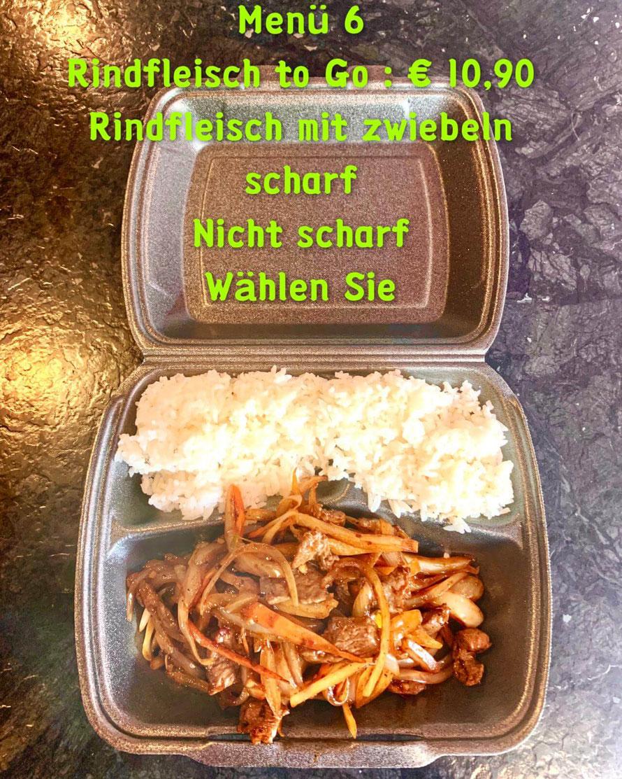 Menü 6: Rindfleisch mit Zwiebeln to Go    €10,90