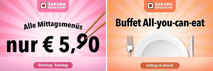 Aktion Mittagsmenüs für € 5,90. Oder Buffet All-you-can-eat.