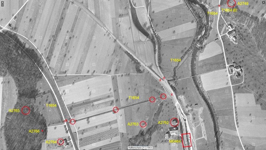 Luftaufnahme der Sperrstelle Hülften vom 21. März 1953