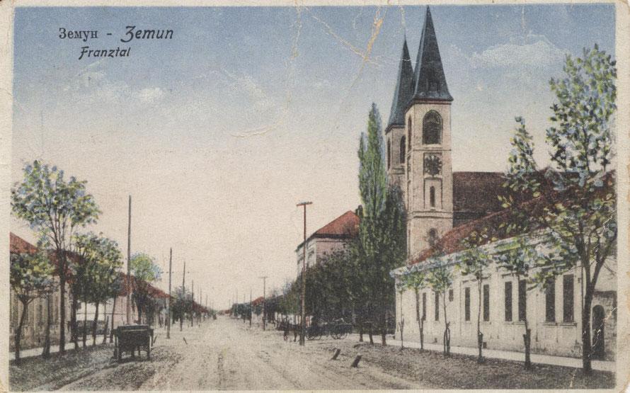 Kirche von Franztal (Postkartenansicht um 1928)