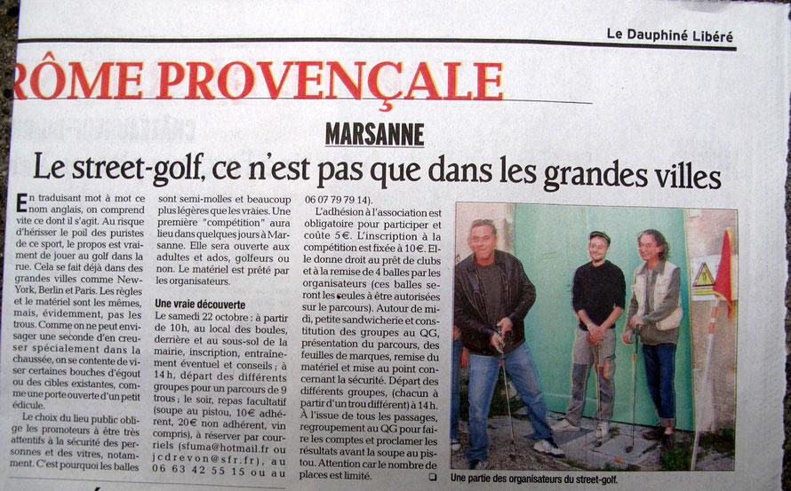 Publication dauphiné libéré - Octobre 2011