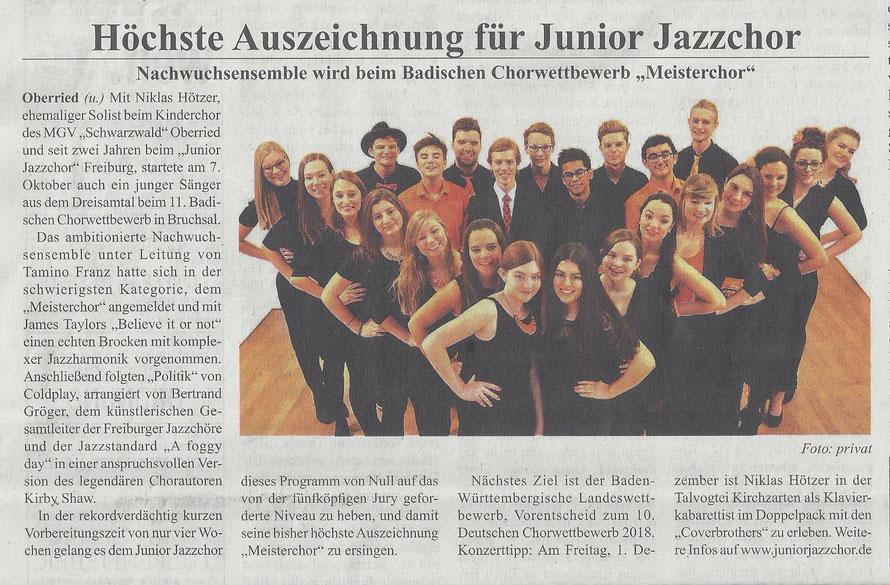 Niklas Hötzer, Junior Jazzchor Freiburg, Badischer Chorwettbewerb, Meisterchor, Dreisamtäler