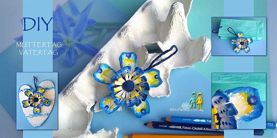 Für Vater- oder Muttertag: Geschenke aus Eierkarton, bemalt mit Aquarellstiften