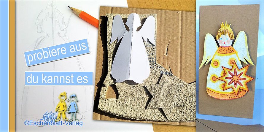 Engel aus Eierkarton für den Weihnachtsbaum, als Geschenk, auf Karten ...
