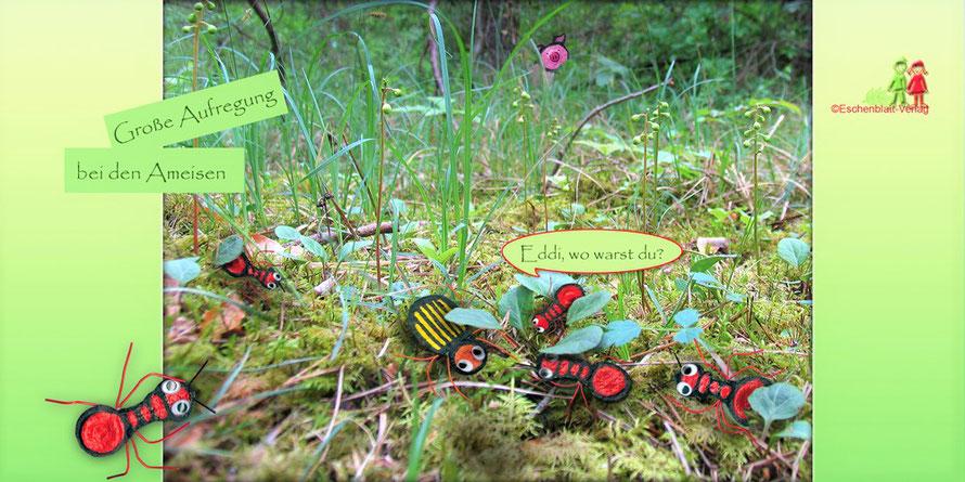 Ameisen aus Eierkarton als Fingerfiguren und eine Geschichte dazu.
