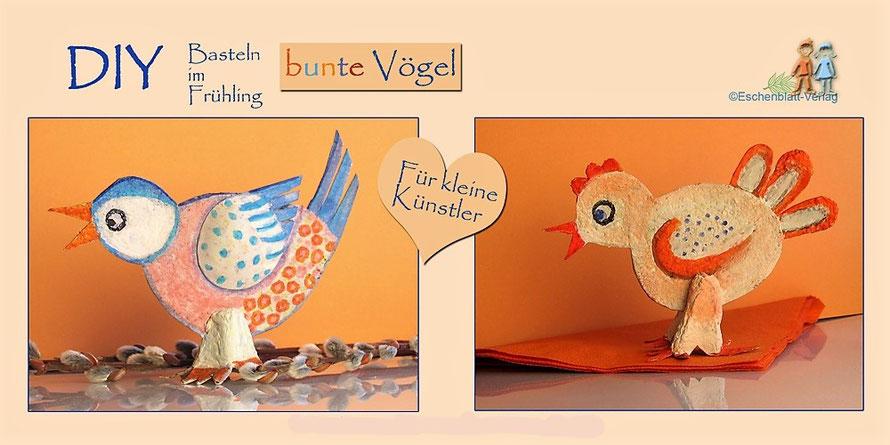 Bunte Vögel aus glatten Eierkartondeckeln