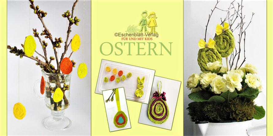 Ostereier aus Serviettenschnüren
