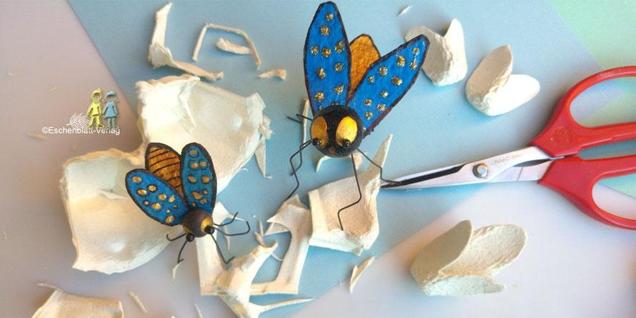 Mit Kindern Fliegen aus Eierkartons basteln