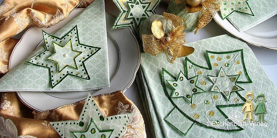Mit Kindern Sterne, Weihnachtsbäumchen  aus Servietten für einen Tisch- oder Christbaumschmuck basteln