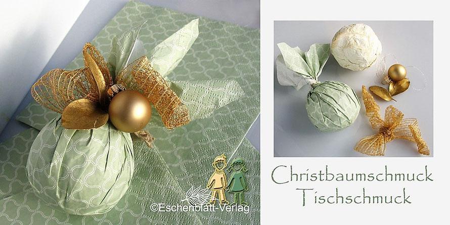 Weihnachtschmuck aus Zeitung, Papiertaschentuch, Servietten und kleinen weihnachtlichen Utensilien mit Kindern basteln