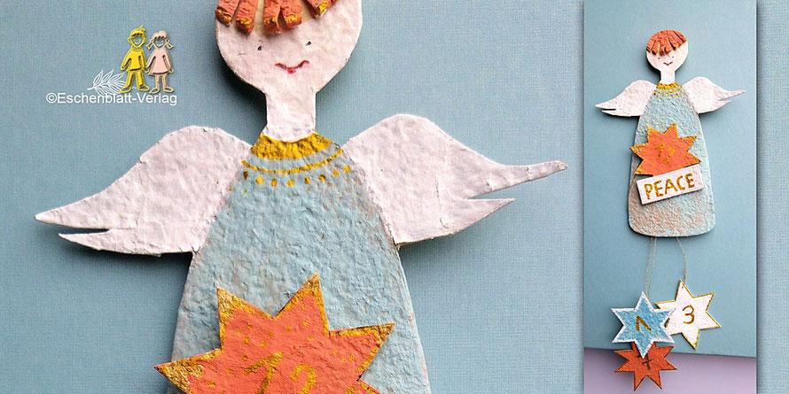 Adventskalender-Engel PEACE aus Eierkarton